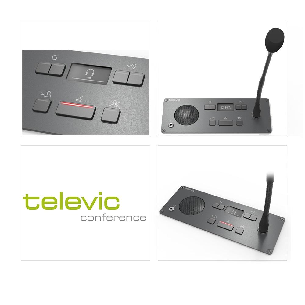 ฐานไมโครโฟนประชุม TELEVIC Confidea F-CI Chairman Interpretation Panel