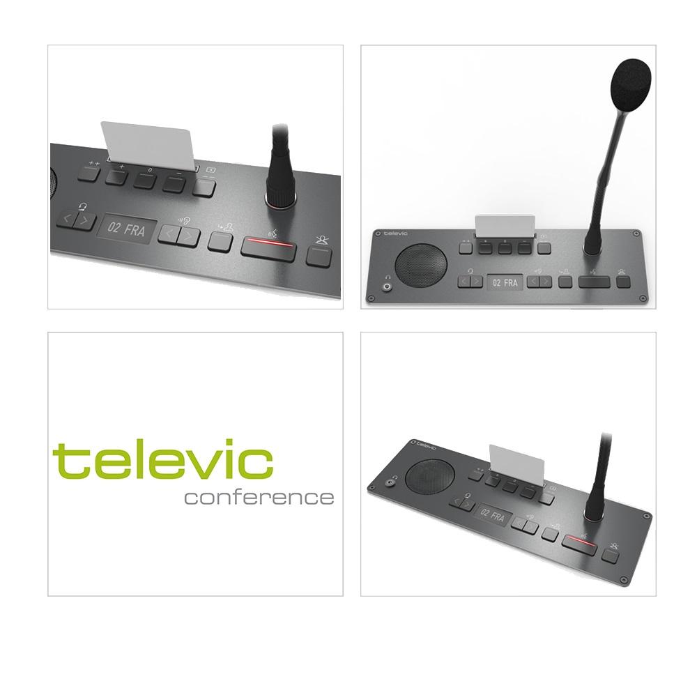 ฐานไมโครโฟน TELEVIC Confidea F-CIV Chairman Interpretation & Voting Panel